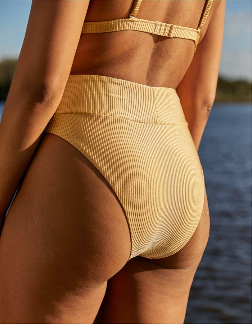 Aerie Ribbed Shine High Cut Cheeky Bikini Bottom Μουσταρδί 1