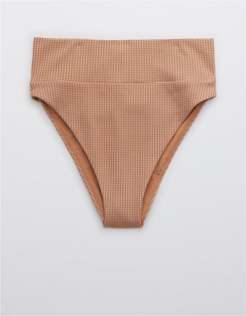 Aerie Waffle High Cut Cheeky Bikini Bottom Ροζ 2
