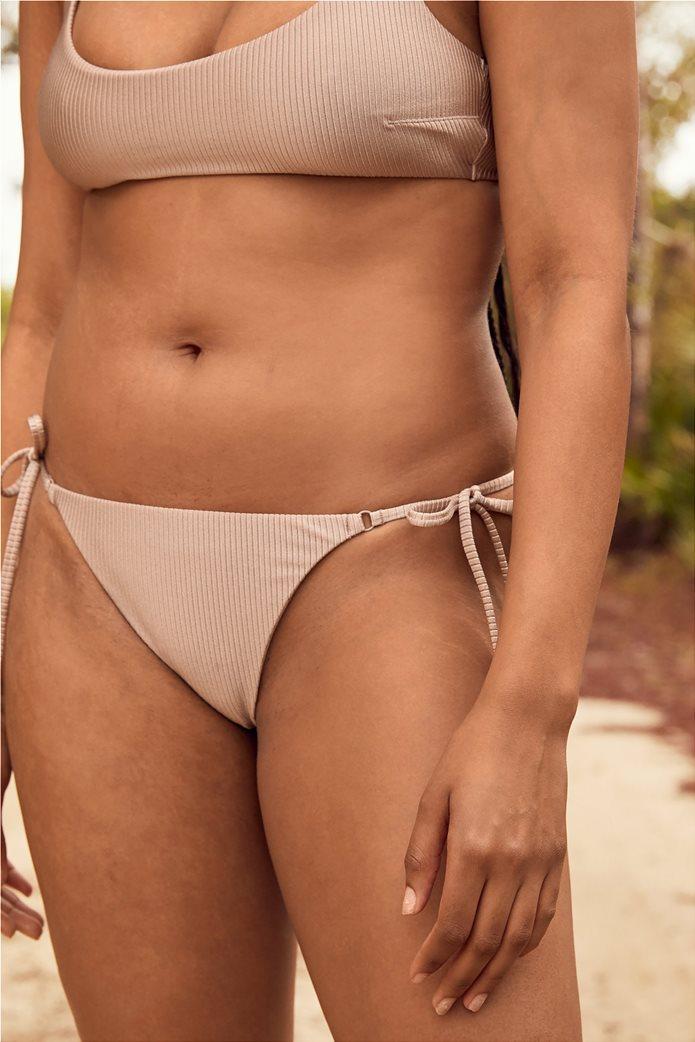 Aerie Ribbed Shine Tie Cheekier Bikini Bottom Μπεζ 0