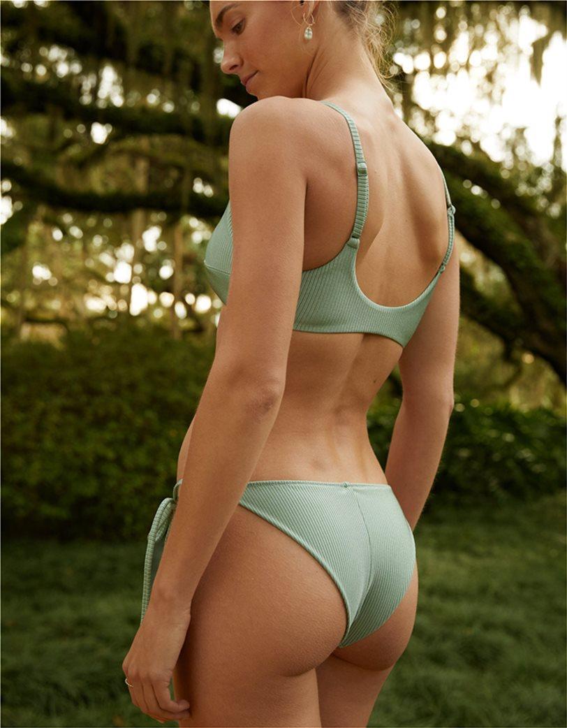 Aerie Ribbed Shine Tie Cheekier Bikini Bottom Λαδί 1