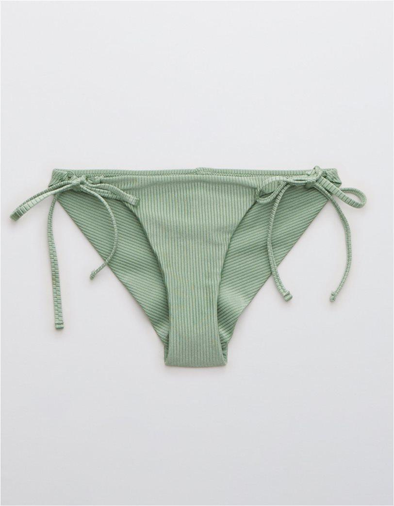 Aerie Ribbed Shine Tie Cheekier Bikini Bottom Λαδί 3