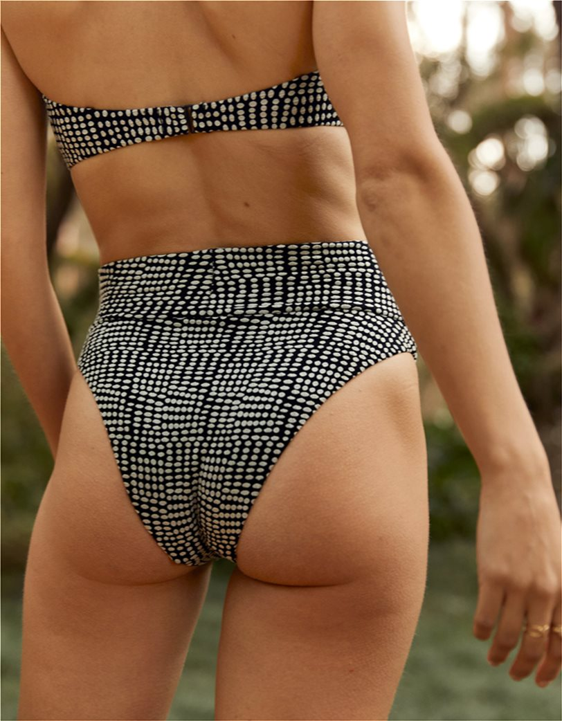 Aerie Jacquard High Cut Cheeky Bikini Bottom Μαύρο 1