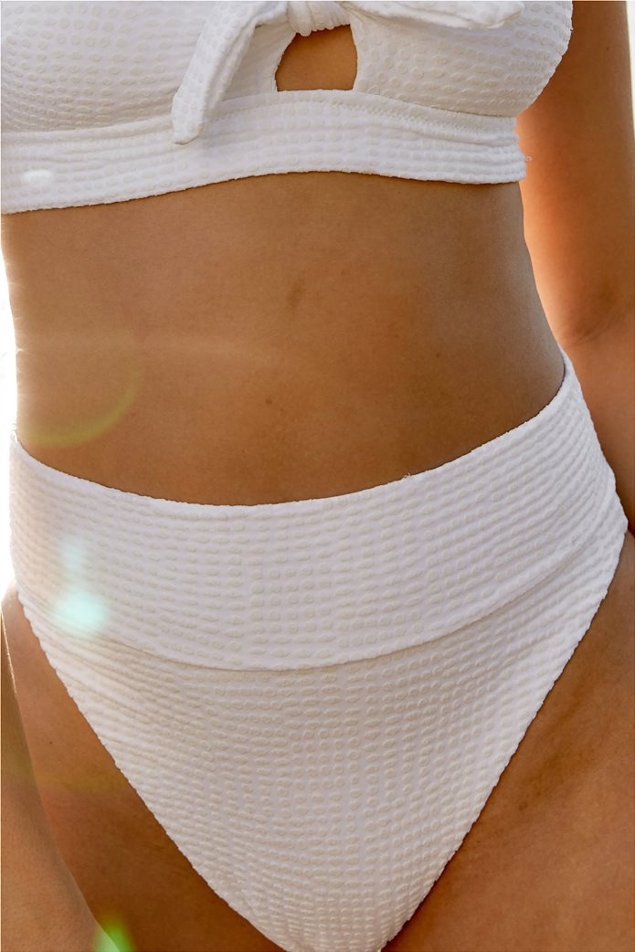 Aerie Jacquard High Cut Cheeky Bikini Bottom Λευκό 0