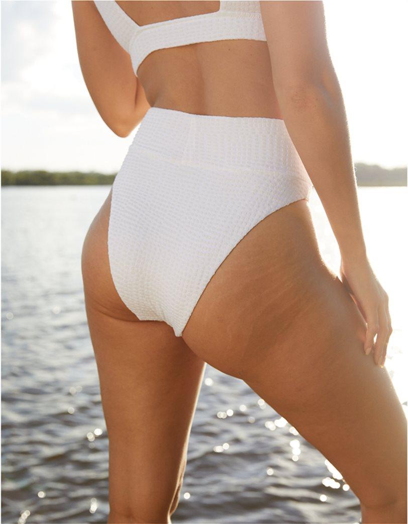 Aerie Jacquard High Cut Cheeky Bikini Bottom Λευκό 1