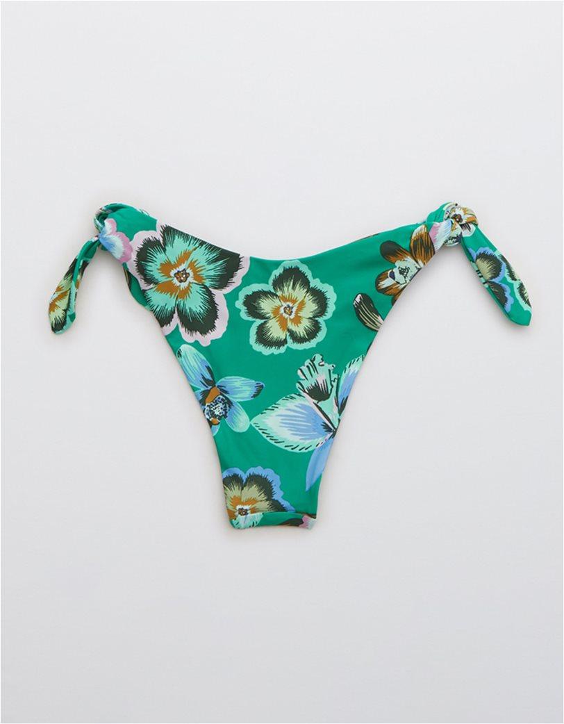 Aerie Printed Ties Super High Cut Cheekiest Bikini Bottom Βεραμάν 4