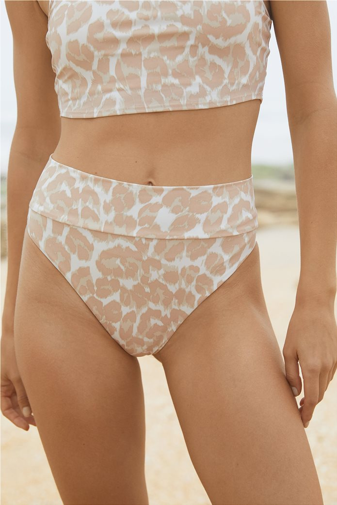 Aerie Leopard High Cut Cheeky Bikini Bottom Μπεζ 0