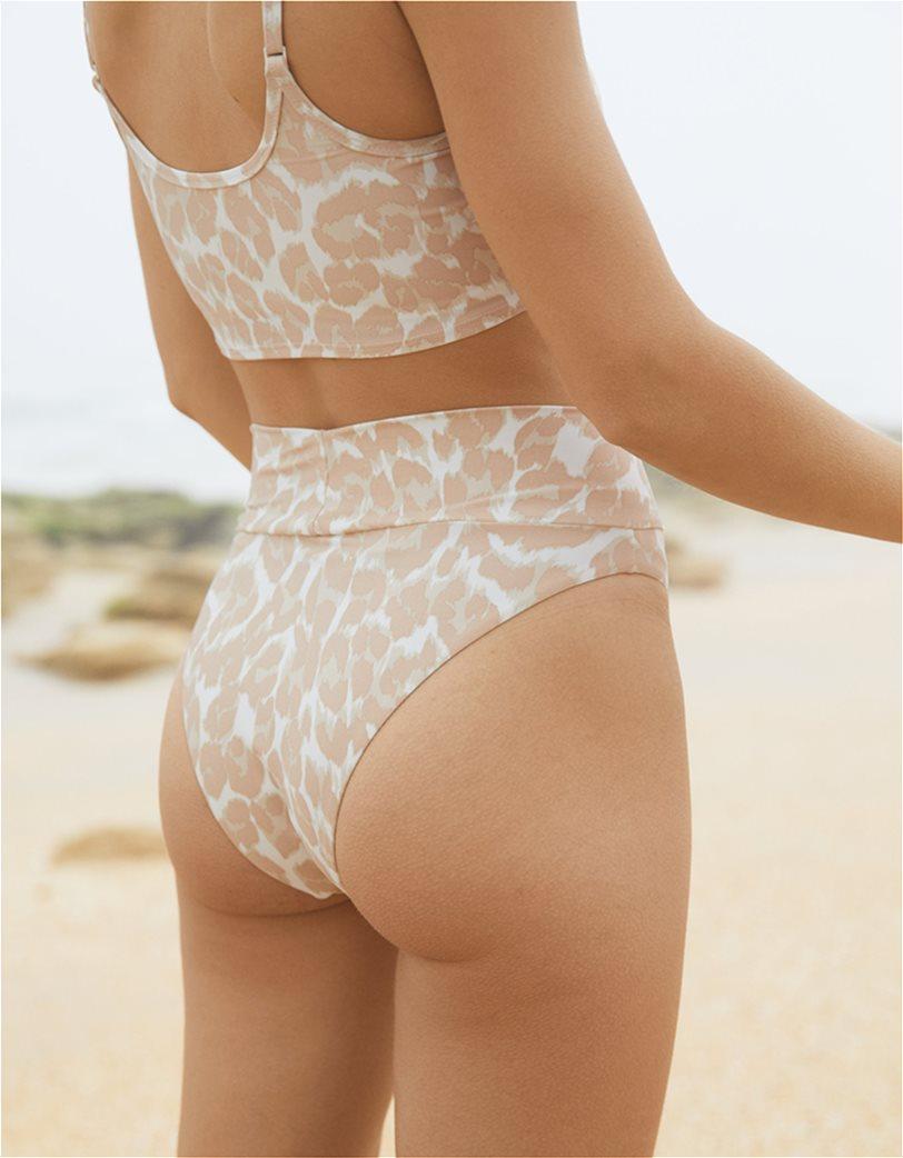 Aerie Leopard High Cut Cheeky Bikini Bottom Μπεζ 1