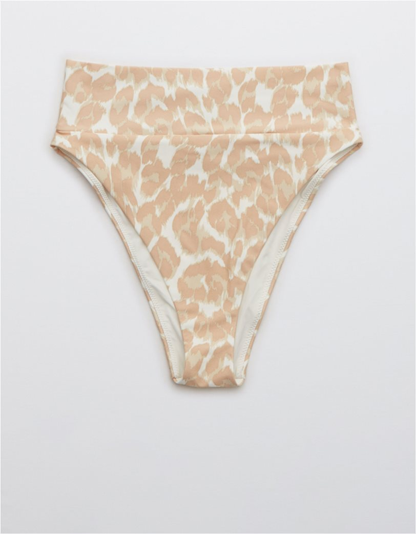 Aerie Leopard High Cut Cheeky Bikini Bottom Μπεζ 3