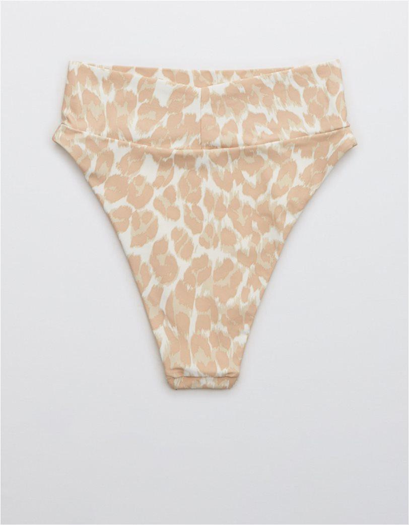 Aerie Leopard High Cut Cheeky Bikini Bottom Μπεζ 4