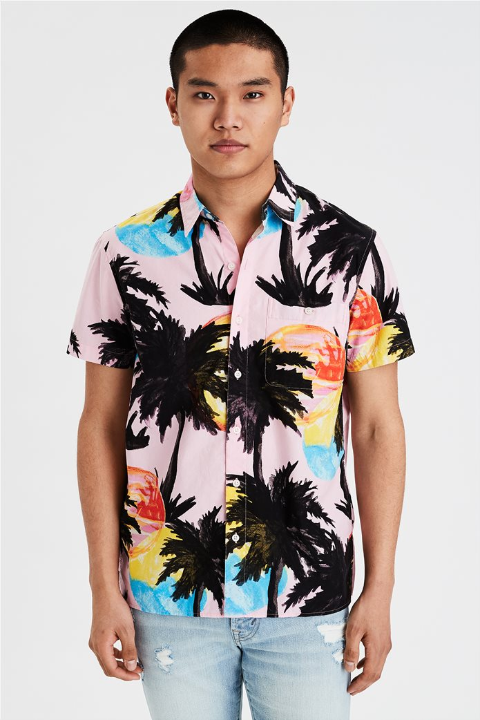 AE Tropical Print Short Sleeve Button-Up Shirt 0