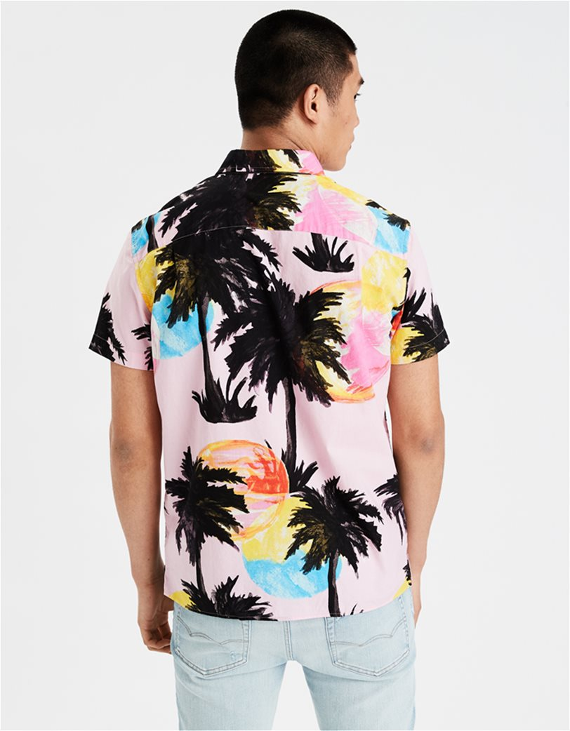 AE Tropical Print Short Sleeve Button-Up Shirt 1