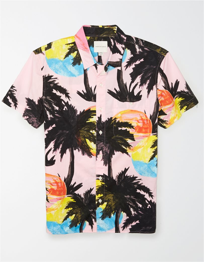 AE Tropical Print Short Sleeve Button-Up Shirt 2
