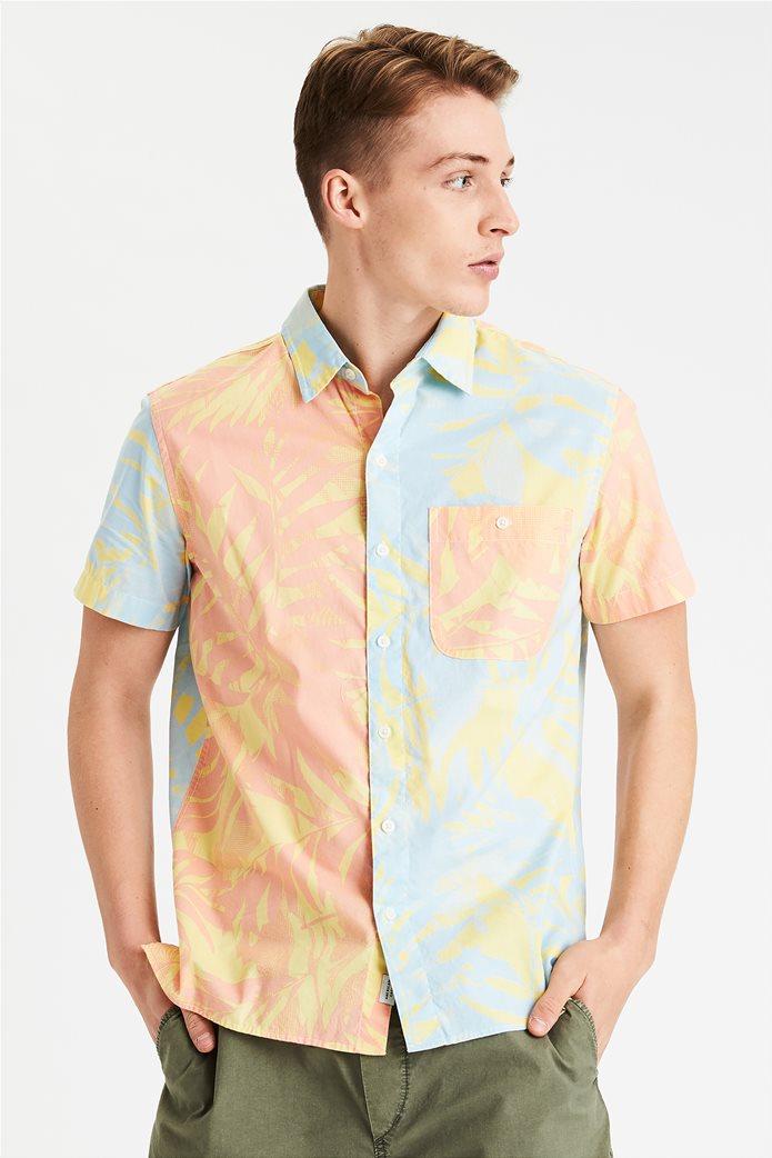 AE Tropical Print Short Sleeve Button-Up Shirt 0