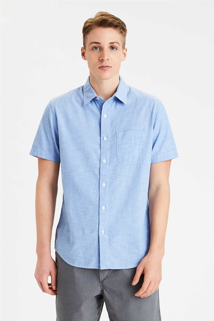 AE Chambray Short Sleeve Button-Up Shirt 0