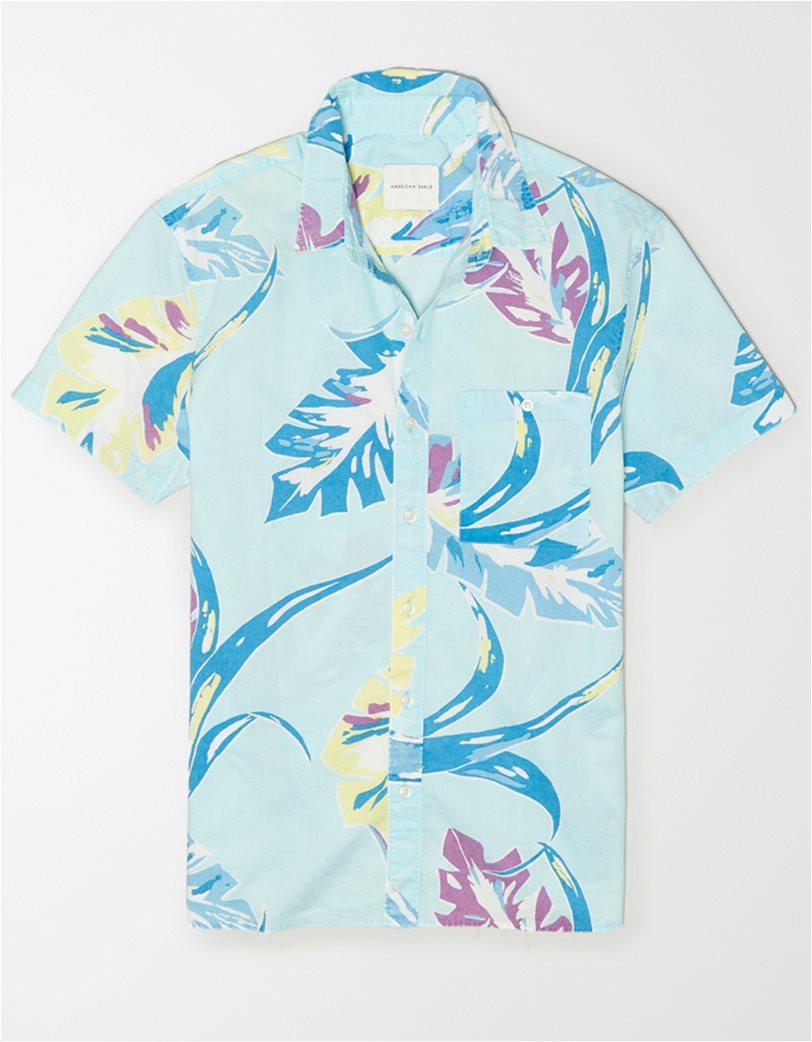 AE Tropical Print Short Sleeve Button-Up Shirt 2