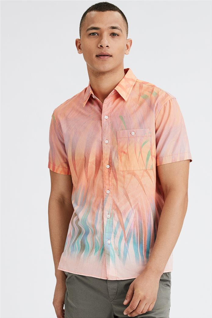 AE Tropical Print Short-Sleeve Button-Up Shirt 0