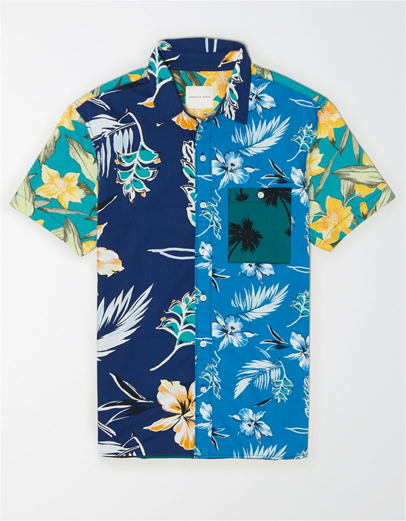 AE Tropical Patchwork Short-Sleeve Button-Up Shirt 2