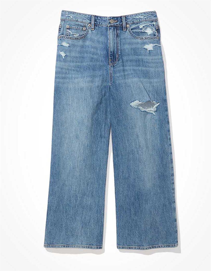 AE Ripped Wide Leg Crop Jean Μπλε Ανοιχτό 3