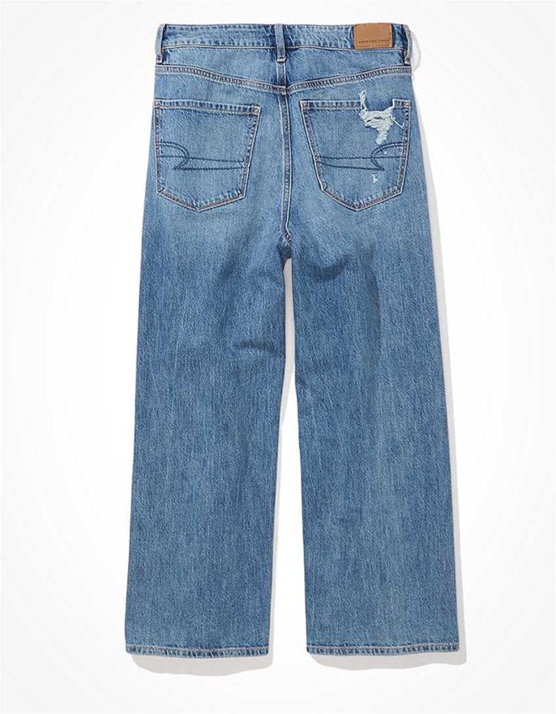 AE Ripped Wide Leg Crop Jean Μπλε Ανοιχτό 4