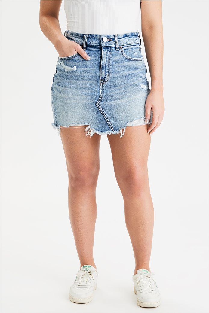 AE Curvy High-Waisted Denim Mini Skirt 0