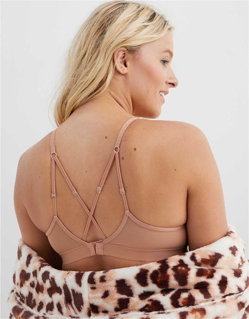 Aerie Velvet Animal Lace Triangle Bralette Nude 1