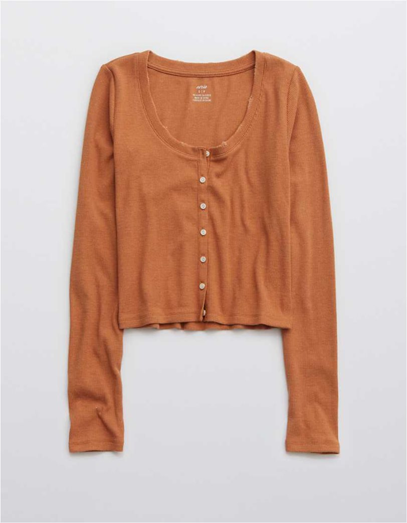 Aerie Ribbed Long Sleeve Shirt Κοραλί 3
