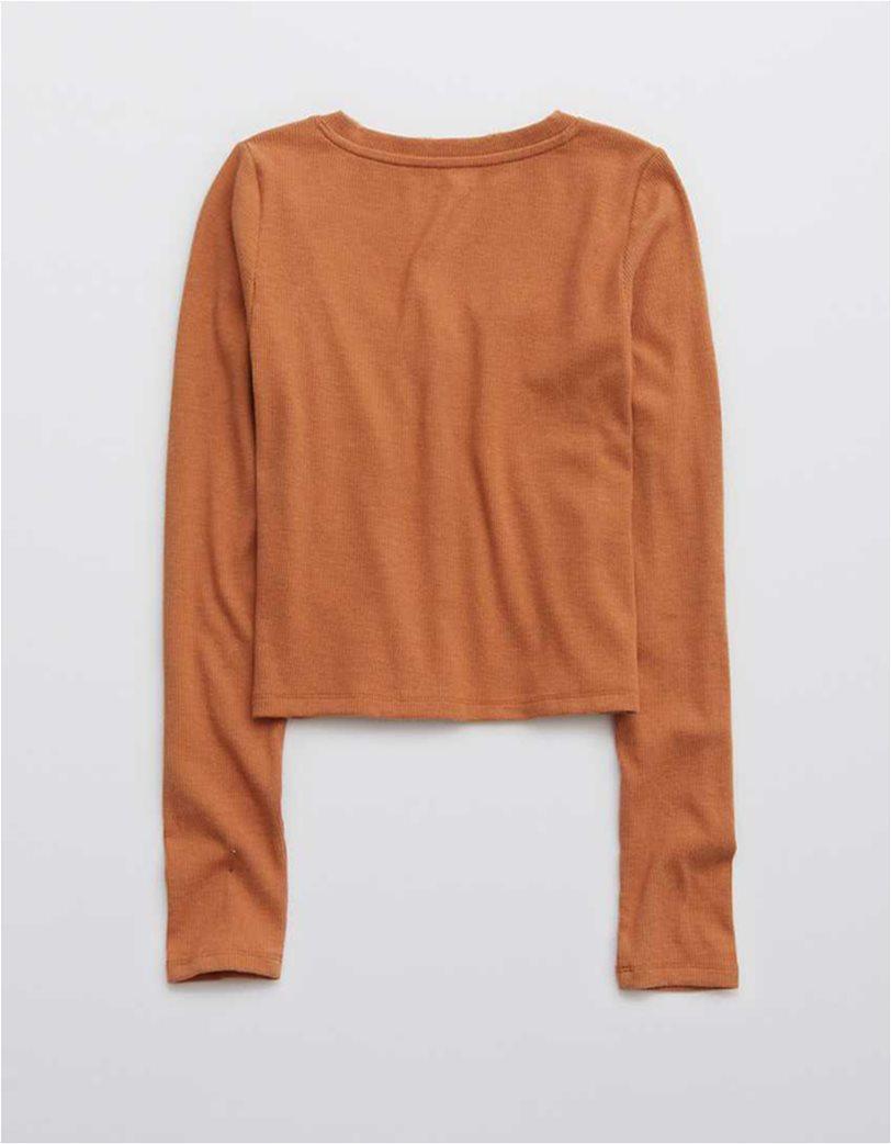 Aerie Ribbed Long Sleeve Shirt Κοραλί 4