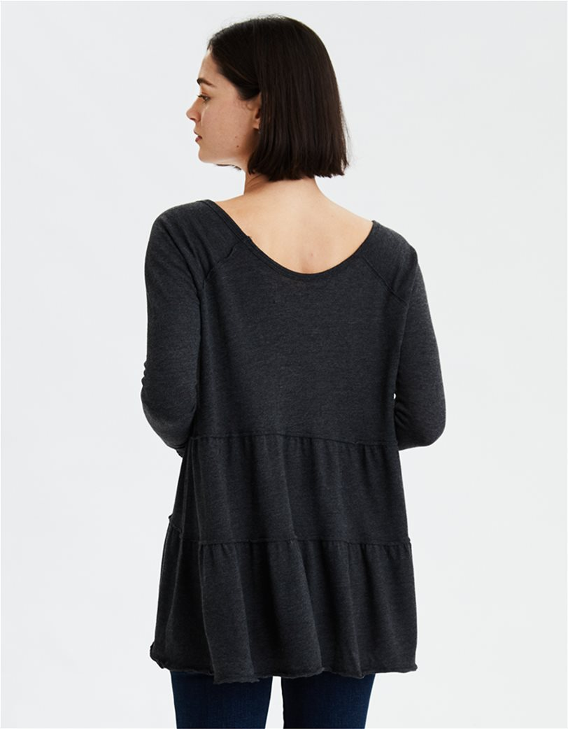 AE Tiered V-Neck Tunic Top Μαύρο 1