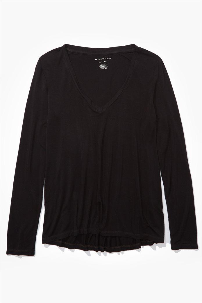 AE Long Sleeve V-Neck T-Shirt Μαύρο 0