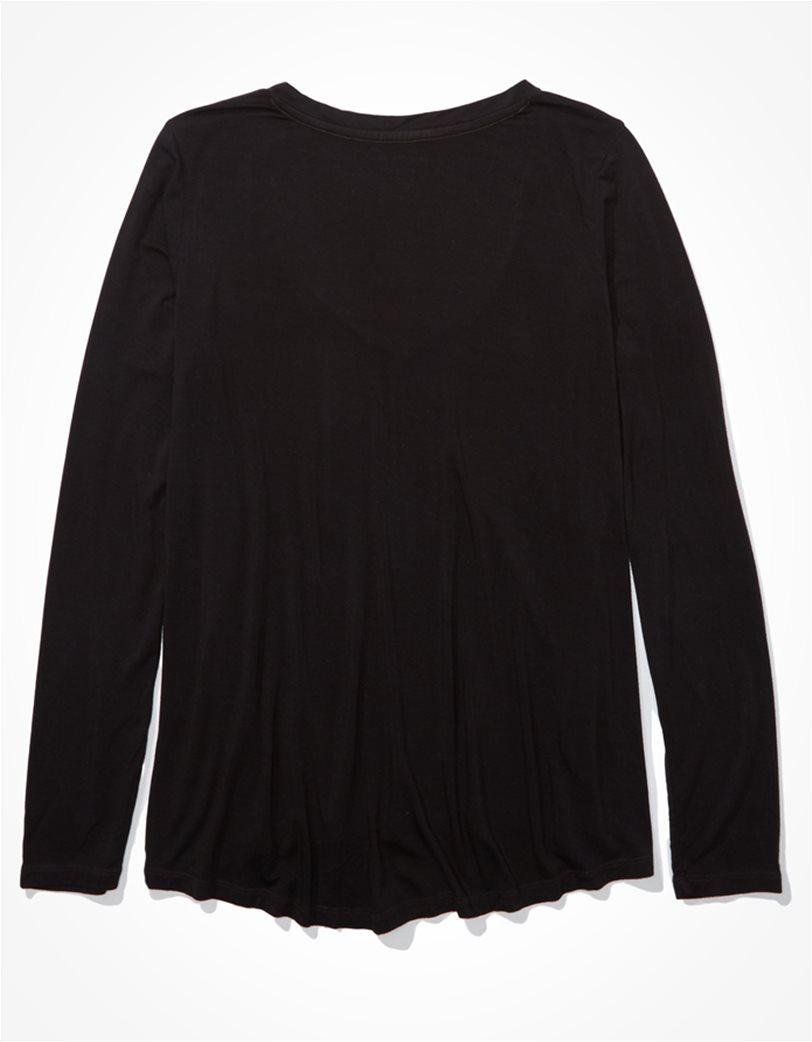 AE Long Sleeve V-Neck T-Shirt Μαύρο 1