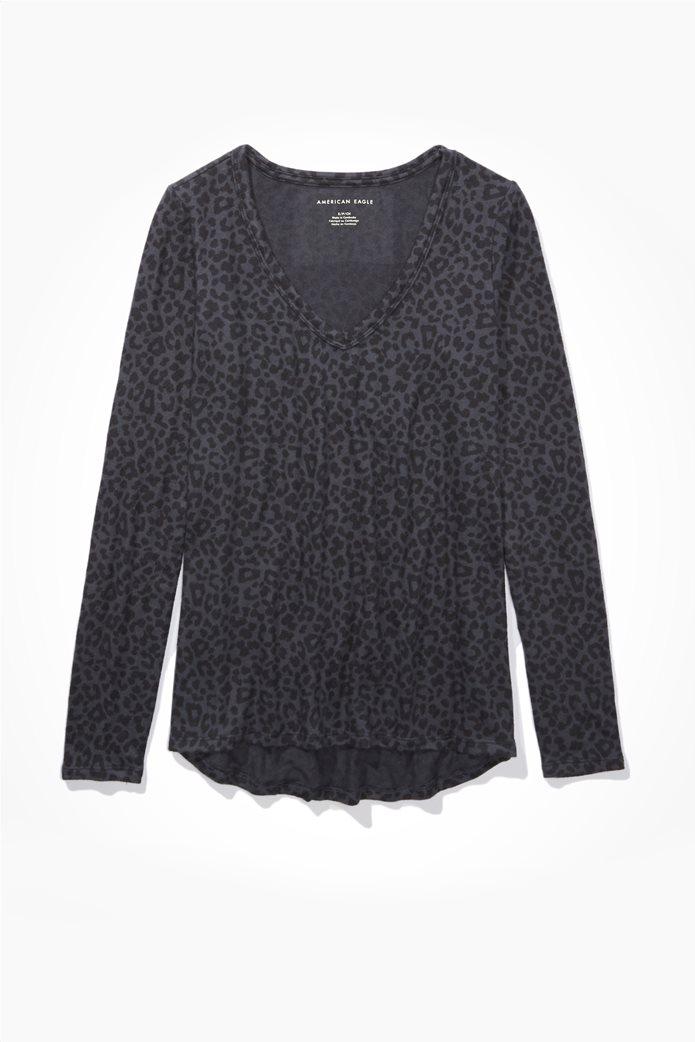 AE Plush Long Sleeve V-Neck T-Shirt 0