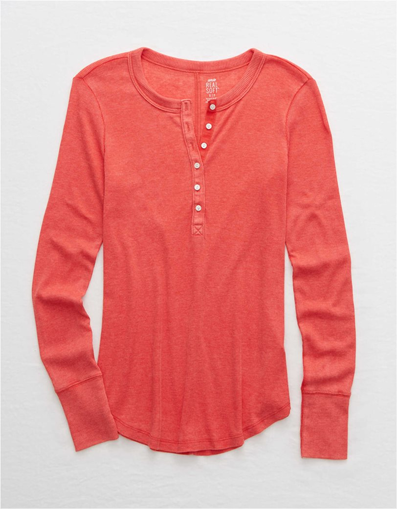 Aerie Long Sleeve Ribbed Henley T-Shirt 2