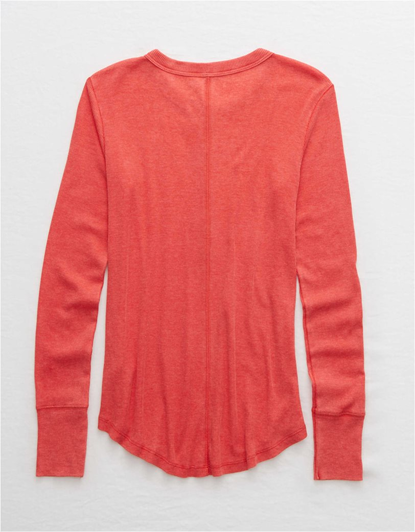 Aerie Long Sleeve Ribbed Henley T-Shirt 3