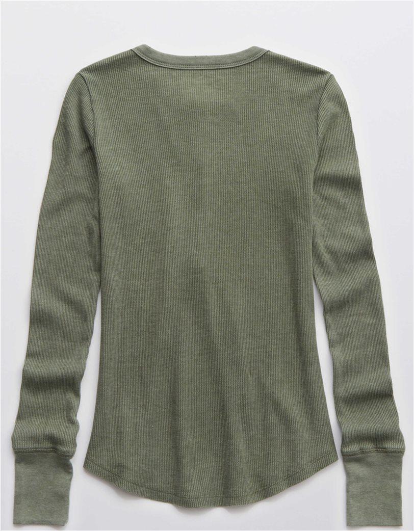 Aerie Waffle Henley Long Sleeve T-Shirt Λαδί 3