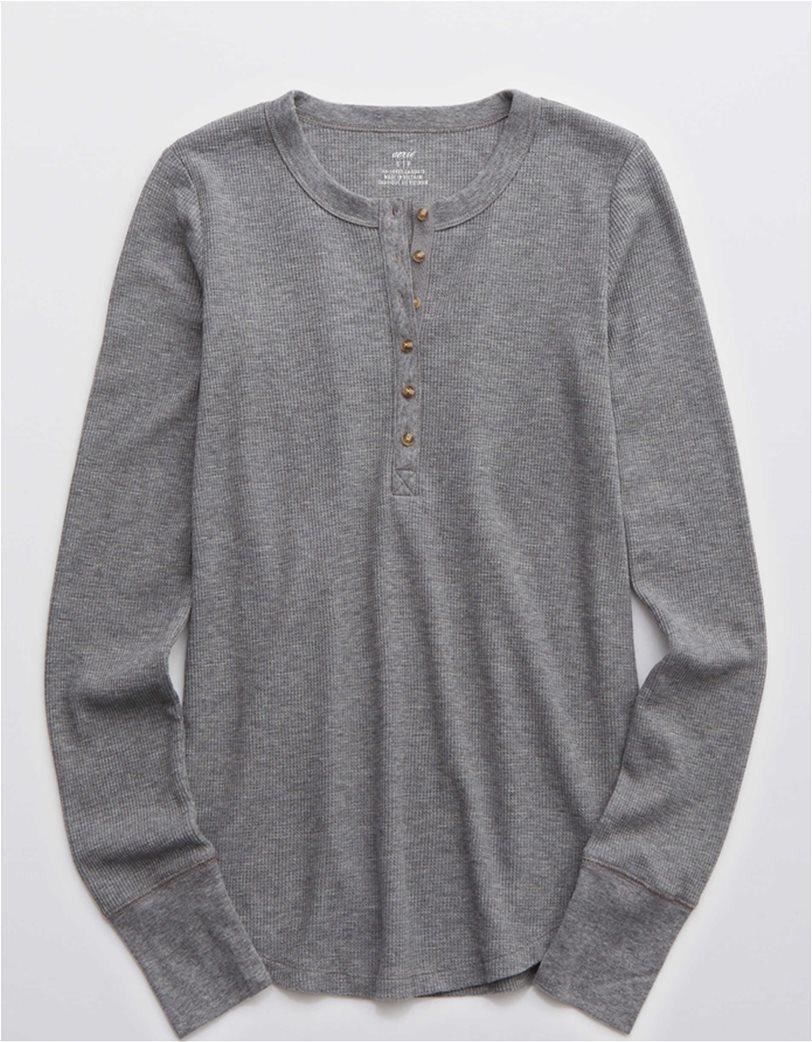Aerie Waffle Henley Long Sleeve T-Shirt Γκρι 2