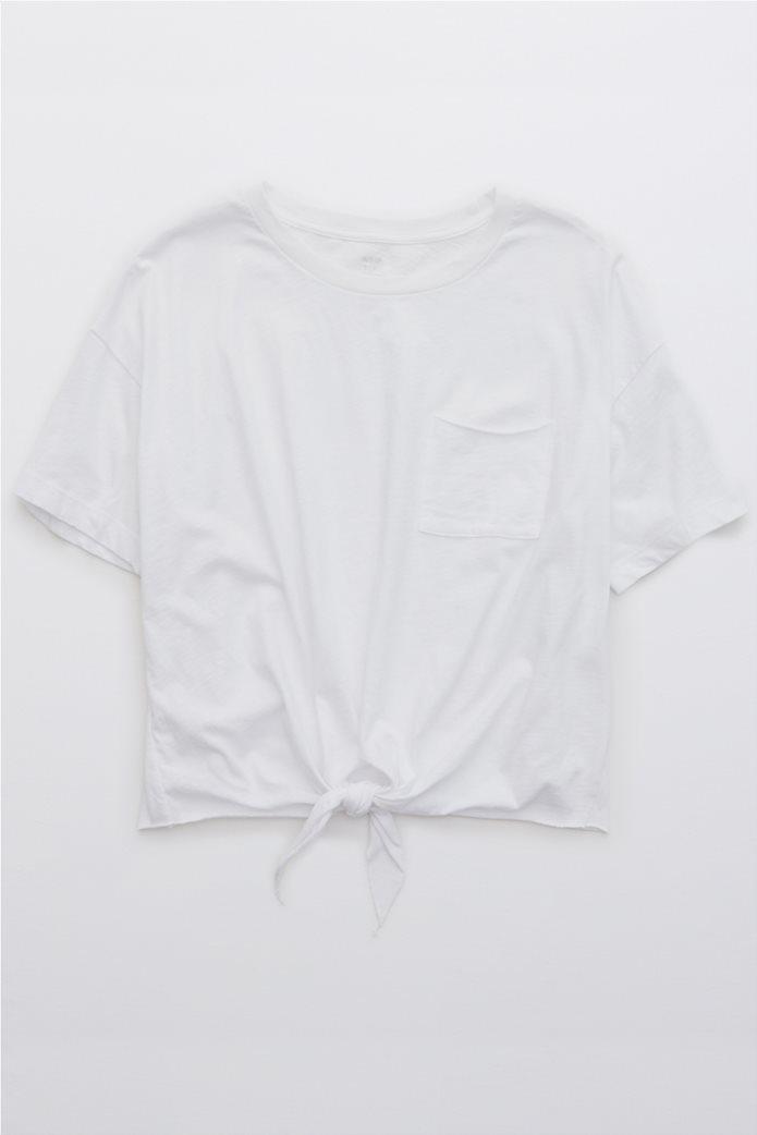 Aerie Distressed V-Neck Boyfriend T-Shirt Λευκό 0