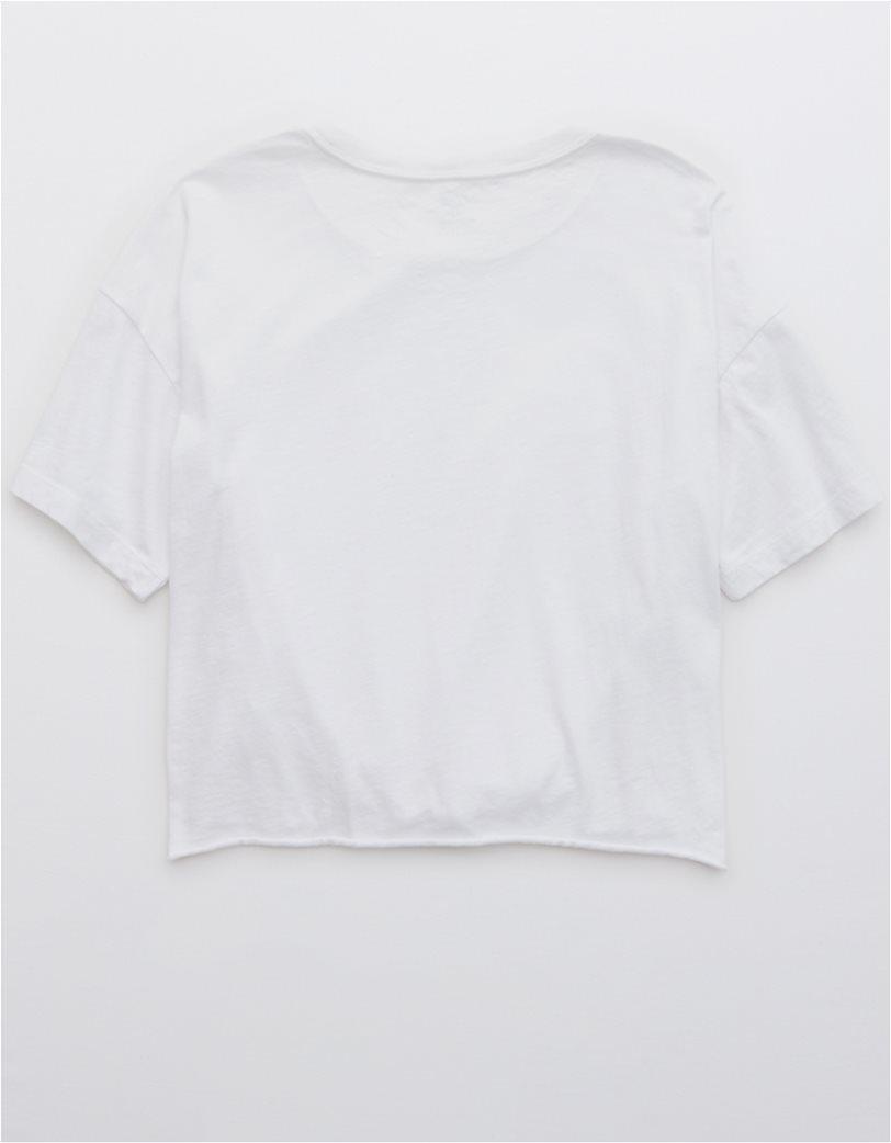 Aerie Distressed V-Neck Boyfriend T-Shirt Λευκό 1