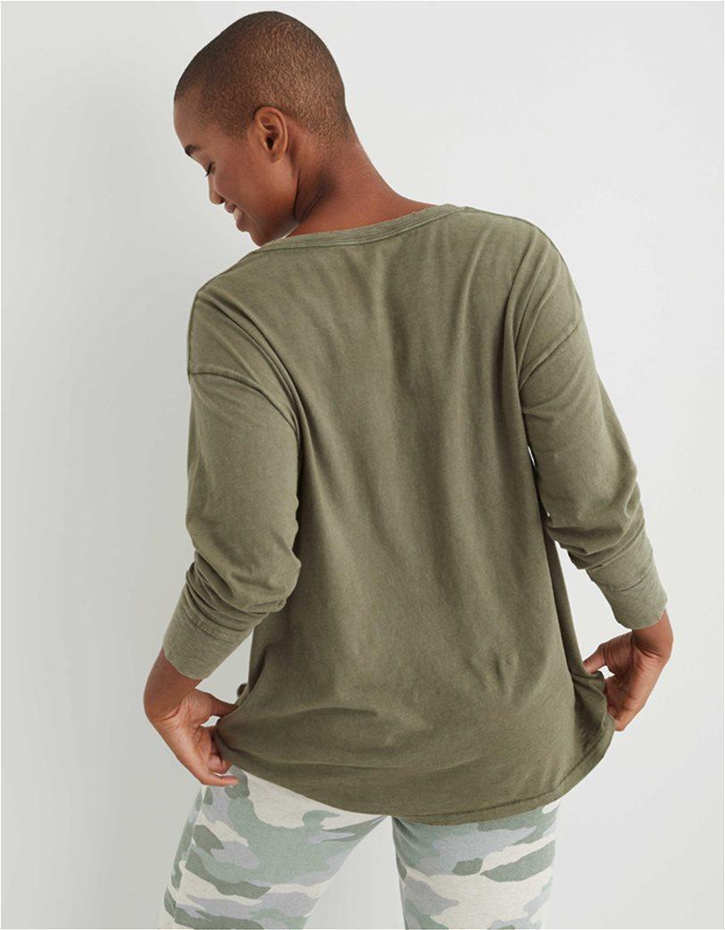 Aerie Long Sleeve Oversized Crewneck T-Shirt Λαδί 1