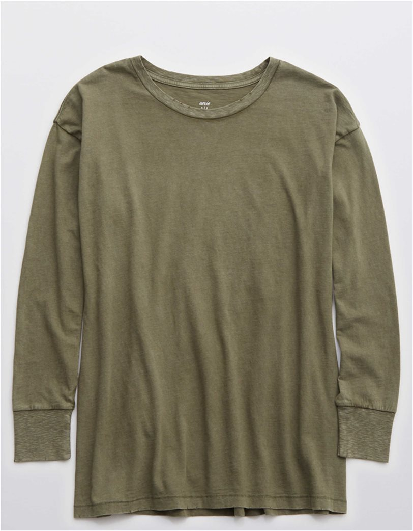 Aerie Long Sleeve Oversized Crewneck T-Shirt Λαδί 2
