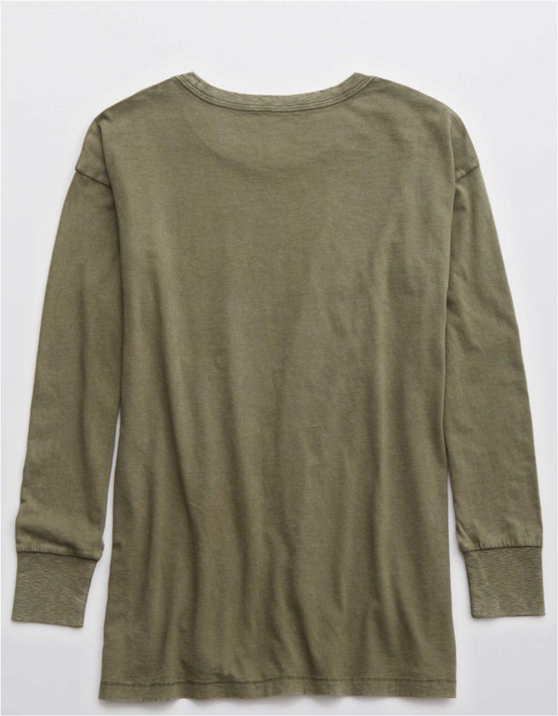 Aerie Long Sleeve Oversized Crewneck T-Shirt Λαδί 3