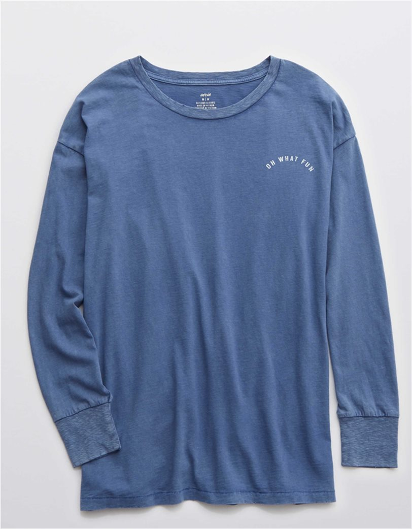 Aerie Long Sleeve Oversized Crewneck T-Shirt Μπλε 2