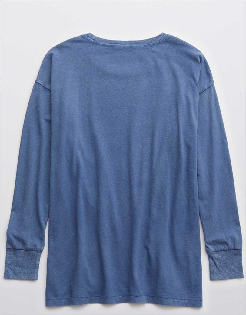 Aerie Long Sleeve Oversized Crewneck T-Shirt Μπλε 3