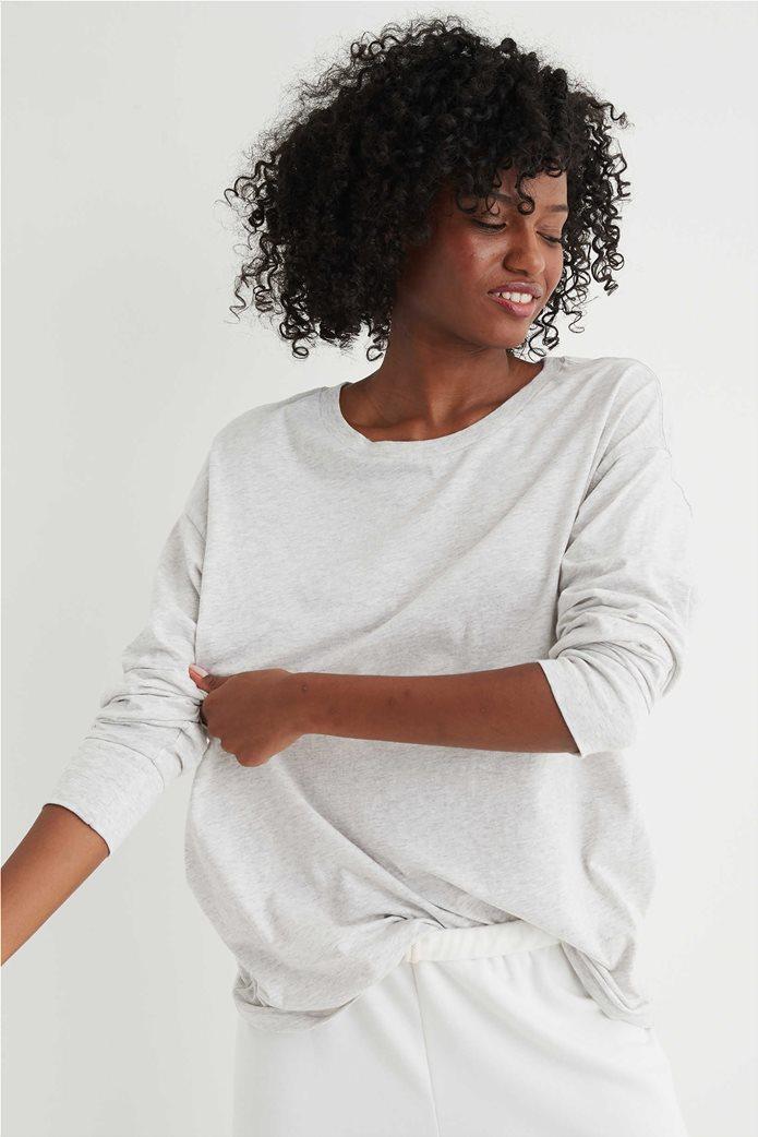 Aerie Long Sleeve Oversized Crewneck T-Shirt Γκρι 0