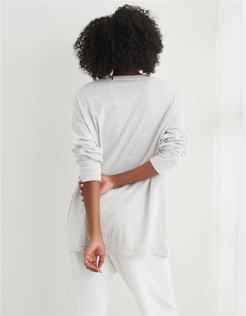 Aerie Long Sleeve Oversized Crewneck T-Shirt Γκρι 1