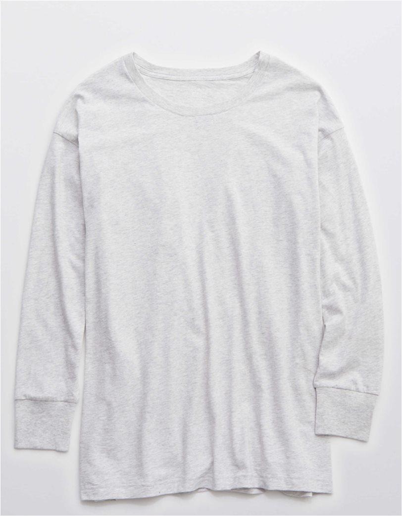 Aerie Long Sleeve Oversized Crewneck T-Shirt Γκρι 2