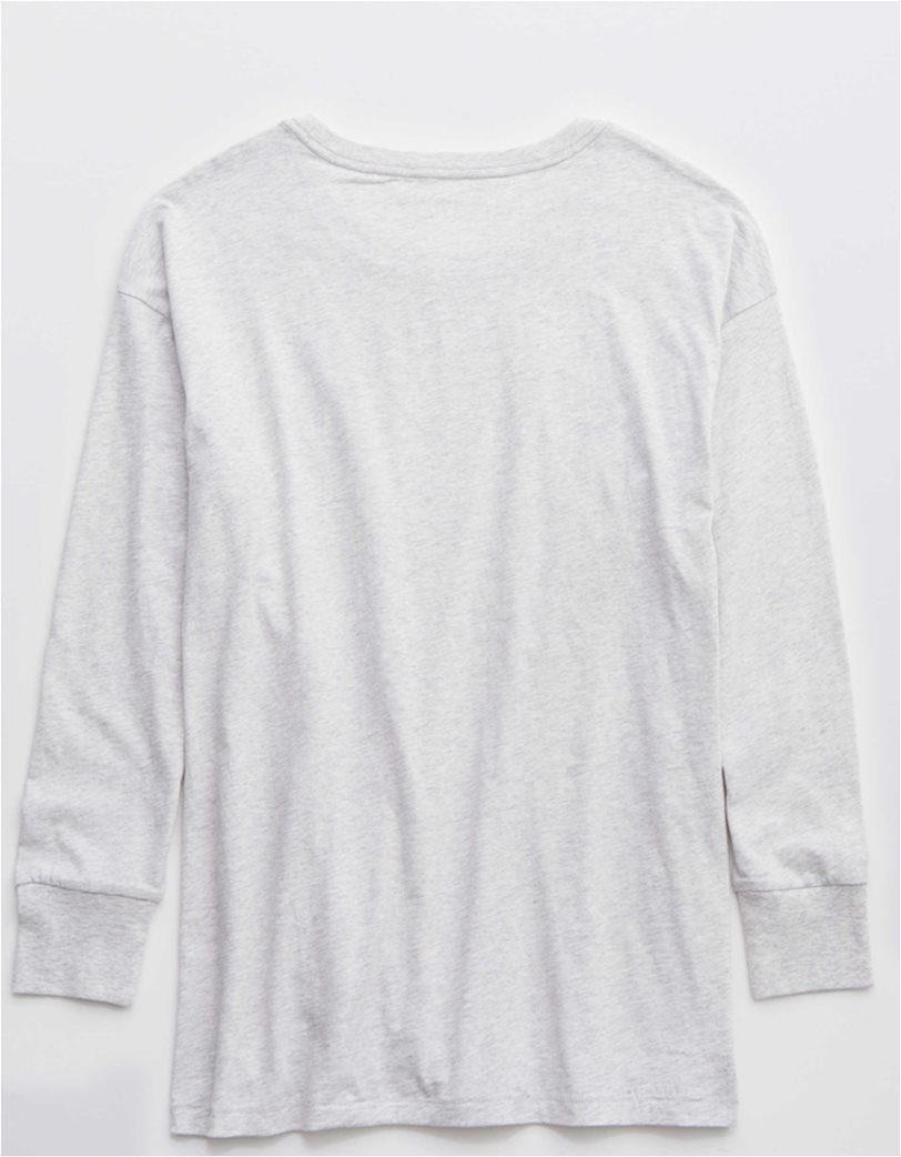 Aerie Long Sleeve Oversized Crewneck T-Shirt Γκρι 3