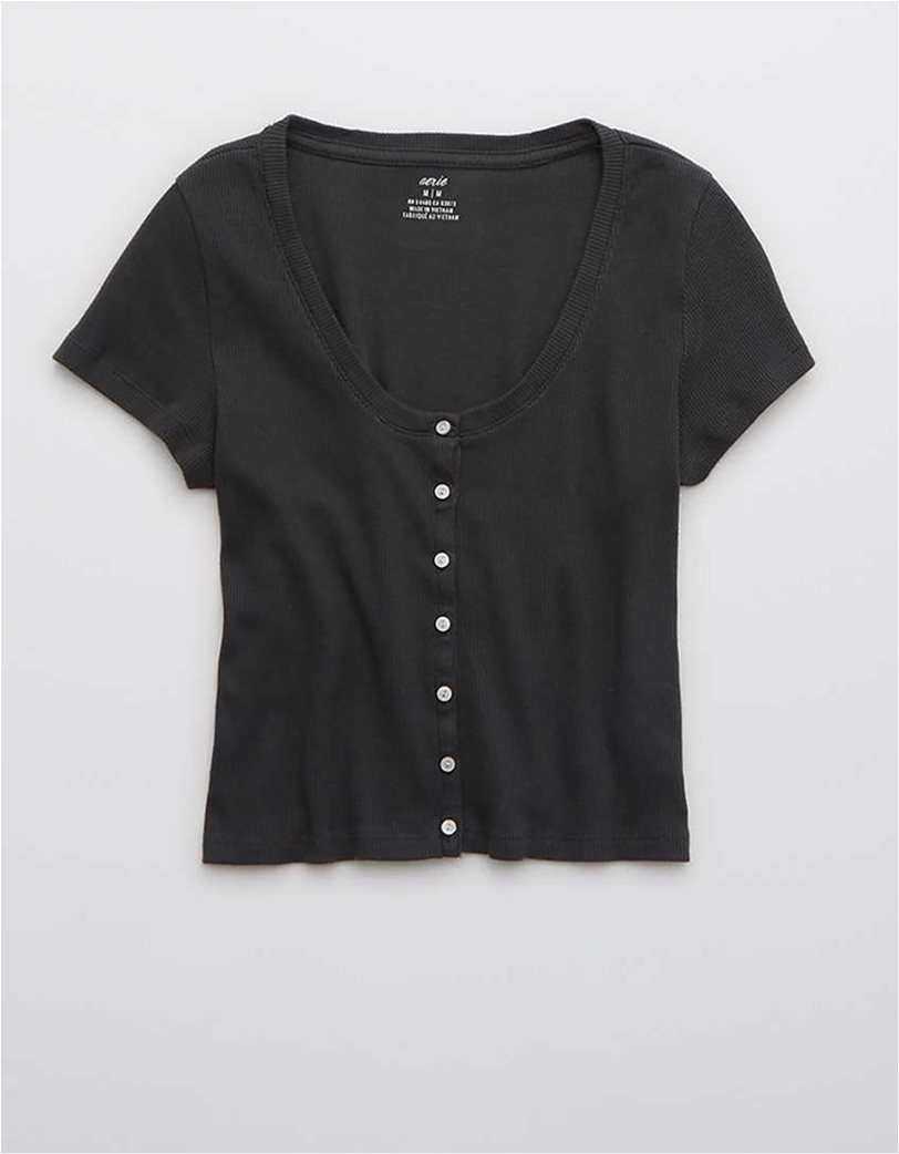 Aerie Ribbed Button Up Baby T-Shirt Μαύρο 2