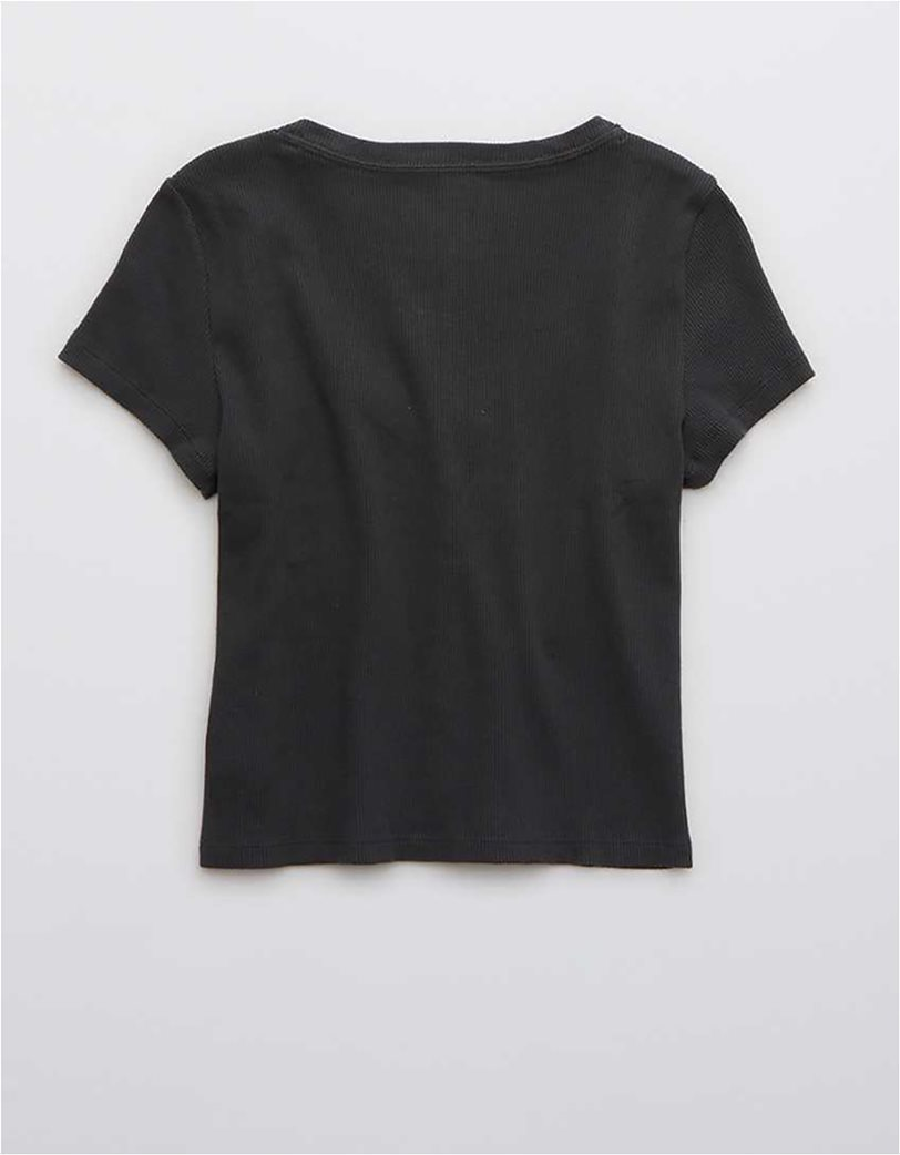 Aerie Ribbed Button Up Baby T-Shirt Μαύρο 3