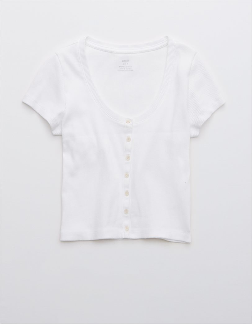 Aerie Ribbed Button Up Baby T-Shirt Λευκό 2