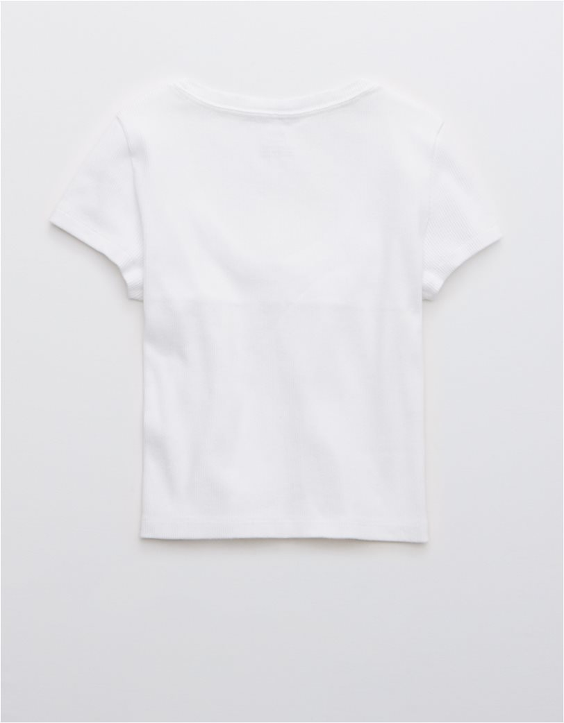 Aerie Ribbed Button Up Baby T-Shirt Λευκό 3